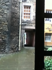 Windows look out onto the medieval Royal Mile
